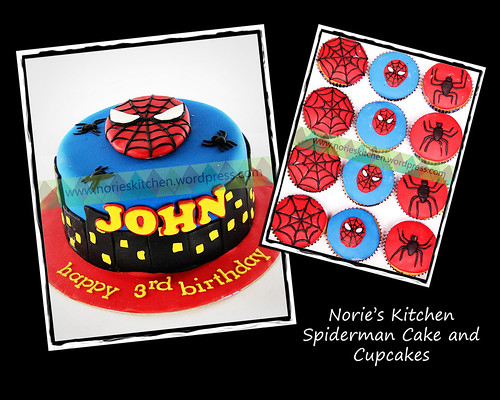 Norie's Kitchen - Spiderman cake and Cupcakes by Norie's Kitchen