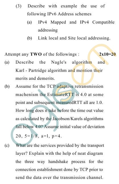 UPTU B.Tech Question Papers -TCS-602- Computer Networks