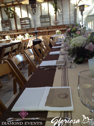 Reception tables at Sinkland Farms