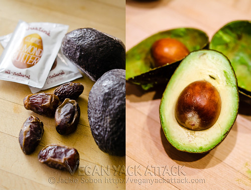 Dates, almond butter and avocado