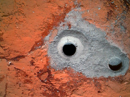 CURIOSITY sol 182 MAHLI drill