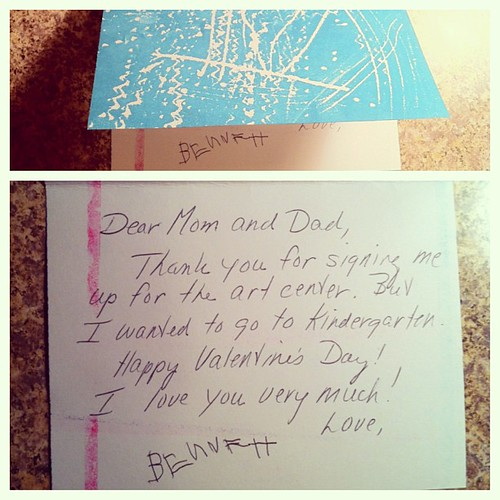 Just opened the mail to find this Valentine from Bennett.