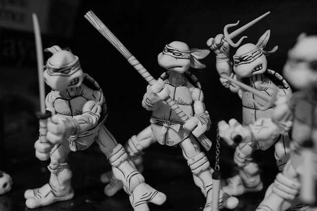 Some awesome posable action figures my boyfriend has of the Teenage Mutant Ninja Turtles...original comic book style!