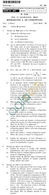 UPTU B.Tech Question Papers - AG-366 - Refrigeration & Air Conditioning