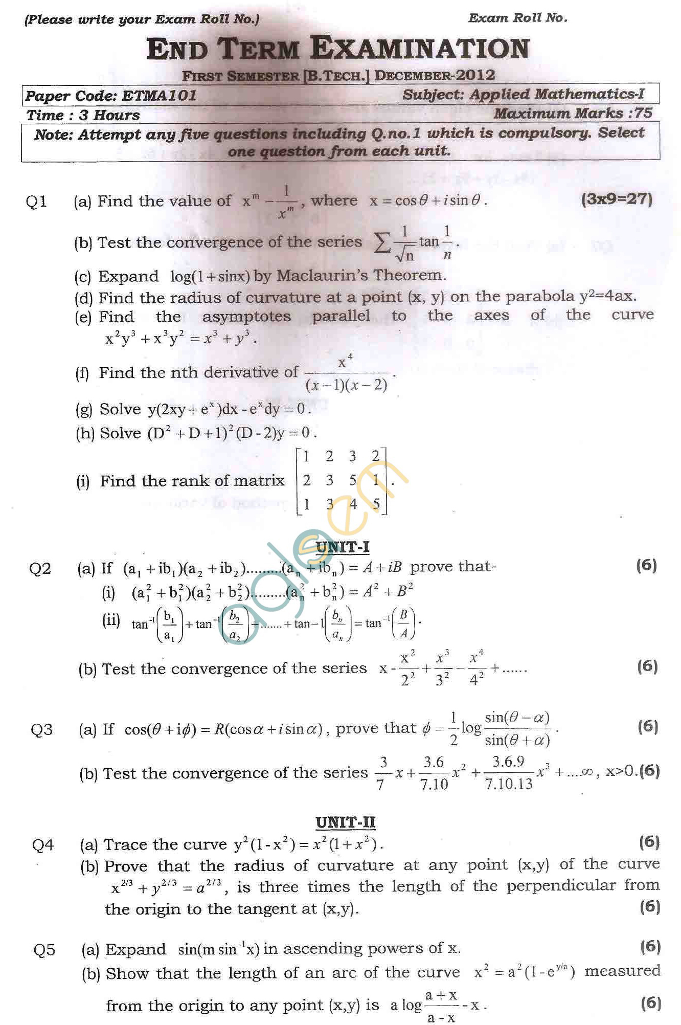 GGSIPU: Question Papers First Semester – end Term 2012 – ETMA-101