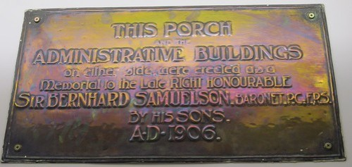 1906 Samuelson Plaque, North Riding Infirmary