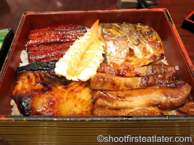 eel, black codfish & mackarel on rice  MOP$320