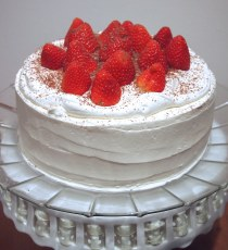 Vanilla buttermilk cake with fresh strawberry and whip cream filling