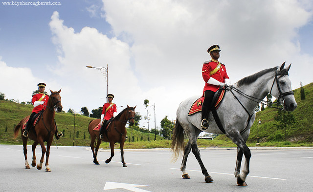 Istana Negara cavalry dressed in traditional Malaysian attire.