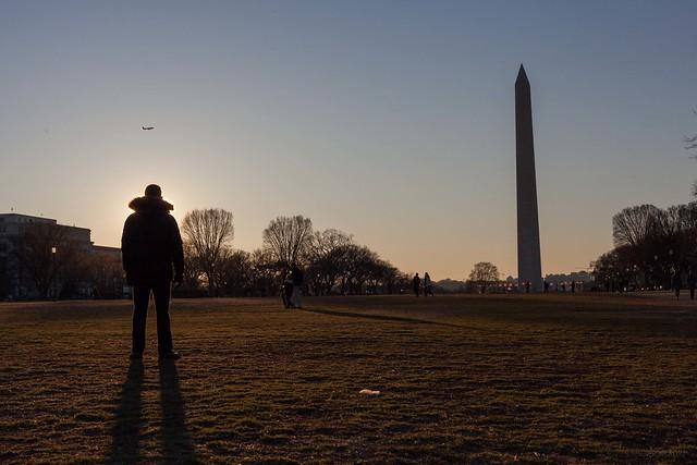 sunset national mall / washington memorial