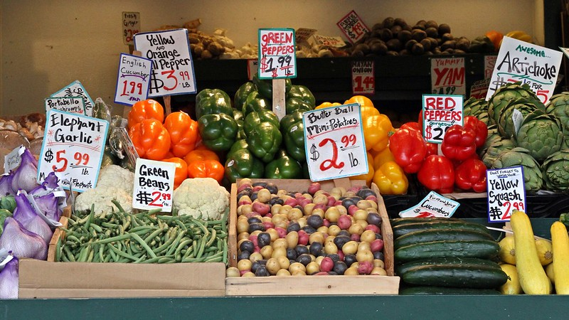 Awesome artichoke, yummy yam, gorgeous peppers at Pike Place in Seattle