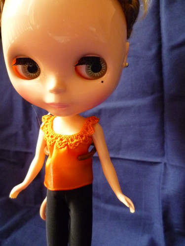 Orange ribbon crochet top