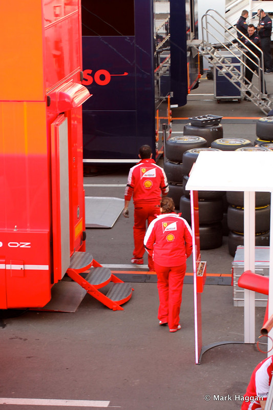 Ferrari mechanics in the paddock at Formula One Winter Testing, 3rd March 2013