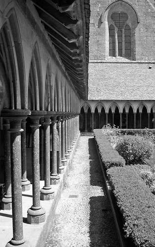 Mont St Michel Cloisters architecture lines in black and white