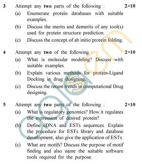 UPTU B.Tech Question Papers - BT-803 - Bioinformatics-III