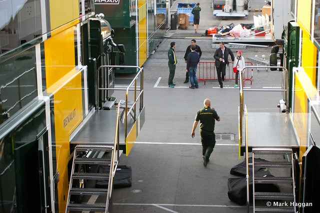 The Caterham paddock area at Formula One Winter Testing, 3rd March 2013