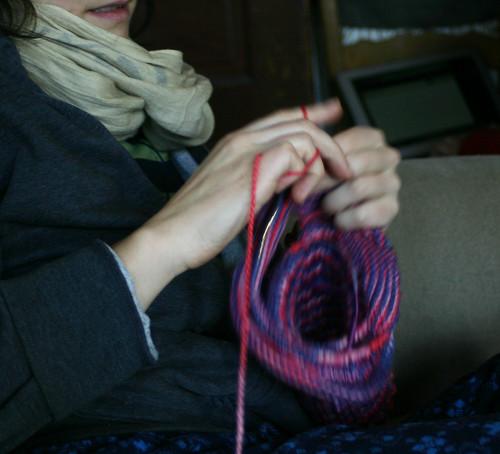 Angela knits a balaclava