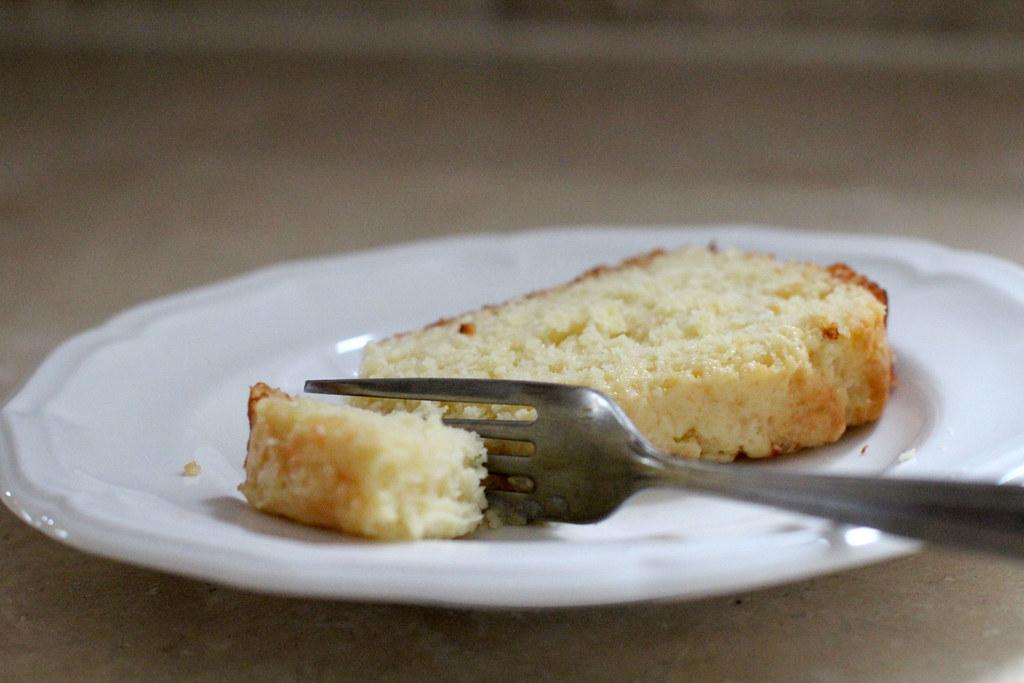 a slice of citrus yogurt cake