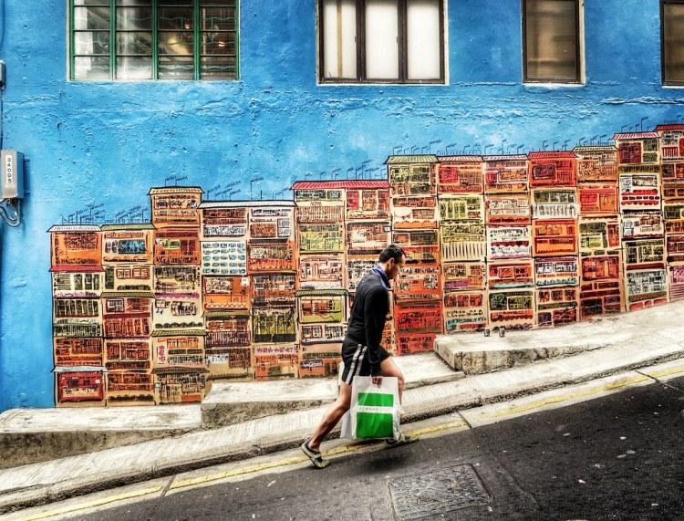 uphill walk after shopping in SoHo. Hong Kong