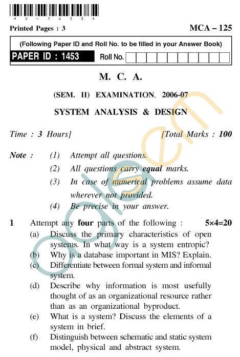 UPTU MCA Question Papers - MCA-125 - System Analysis & Design