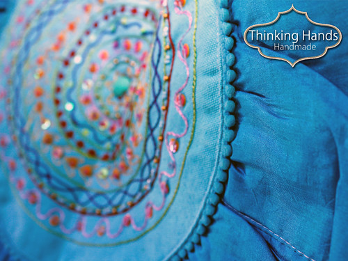 Boho ethnic tote bag embroidery detail