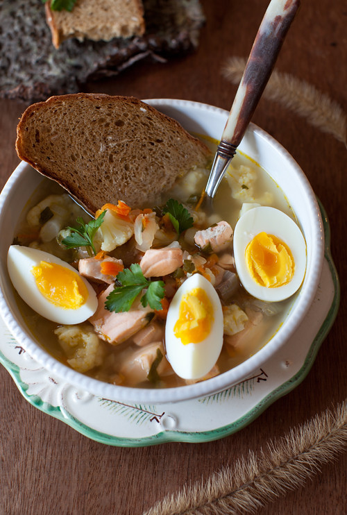 Salmon Soup with Egg 2