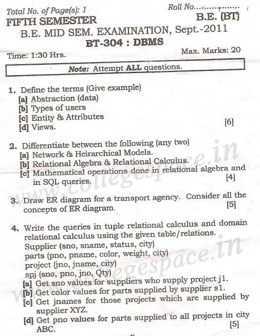 NSIT Question Papers 2011 – 5 Semester - Mid Sem - BT-304