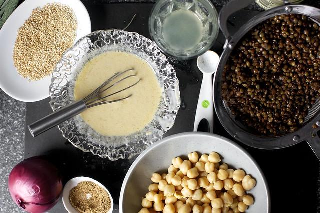toasted sesame seeds, tahini dressing, toasted ground spices
