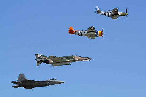 USAF Heritage Flight F-22A Raptor P-51D Mustang P-47D Thunderbolt QF-4E Phantom II