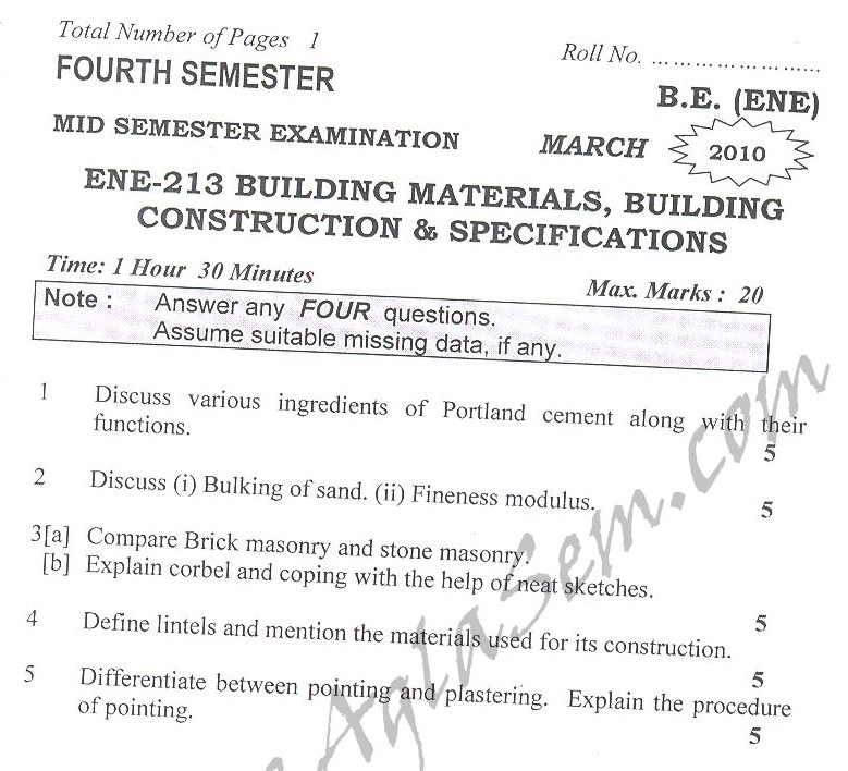 DTU Question Papers 2010 – 4 Semester - Mid Sem - ENE-213