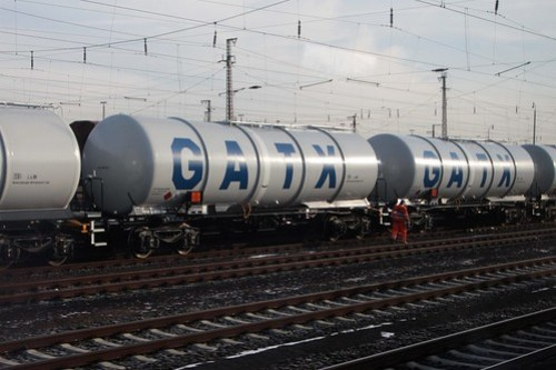 Rake of GATX tank wagons at Hanau, Germany