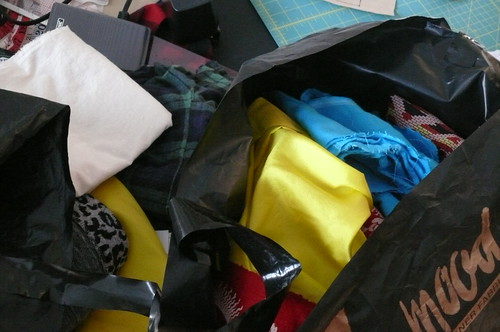 Hey, I never said that EVERYTHING fit into the drawers! Ugh, I'm buried under bags of scraps and odds & ends!