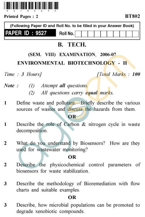 UPTU B.Tech Question Papers - BT-802 - Environmental Biotechnology-II