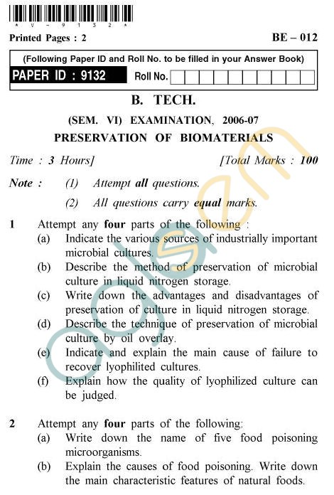 UPTU B.Tech Question Papers -BE-012 - Preservation of Biomaterials