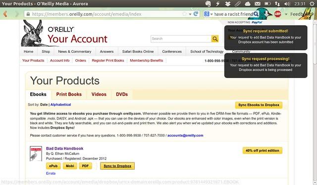 E-kirjojen kotiinkuljetus O'Reillyn kirjakaupasta Dropboxiin