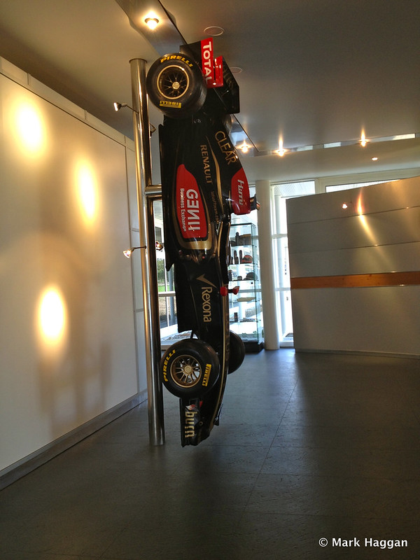 A car in reception at Lotus F1 Headquarters