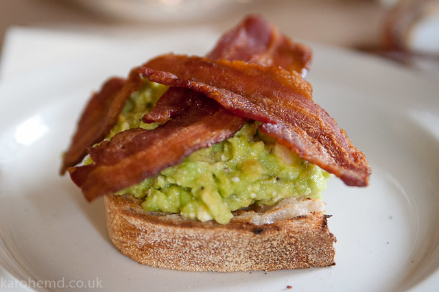 Avocado&Feta mash, streaky bacon on toast