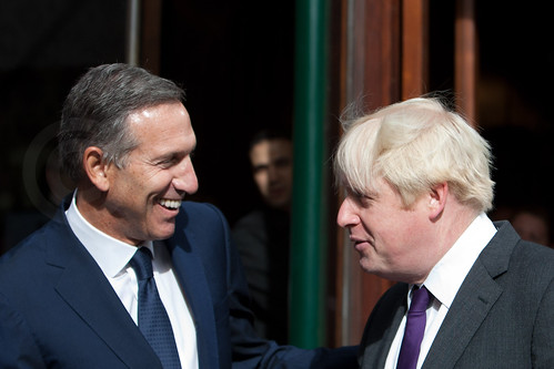 Boris Johnson & Starbucks CEO Howard Shultz London. by sinister pictures