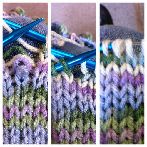 Corrected!  Take that sleepy knitting!  Well, once I set the stitch the right way :)  #knit #corrected #oops #success
