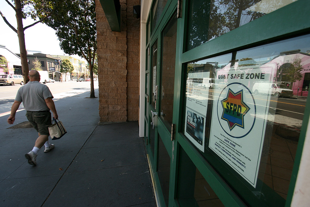 Police stations in San Francisco now display a sign on the front of the building stating that they are safe havens for the LGBT community. In the past, according to members of the LGBT community, crimes against them were overlooked or not taken seriously. Photo by Andy Sweet/Xpress