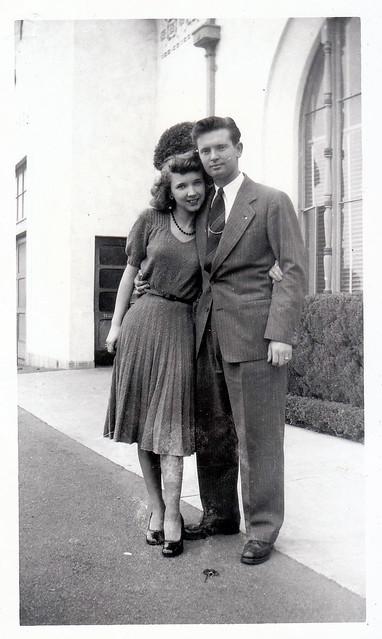 ben and Bonny  at train station 1947