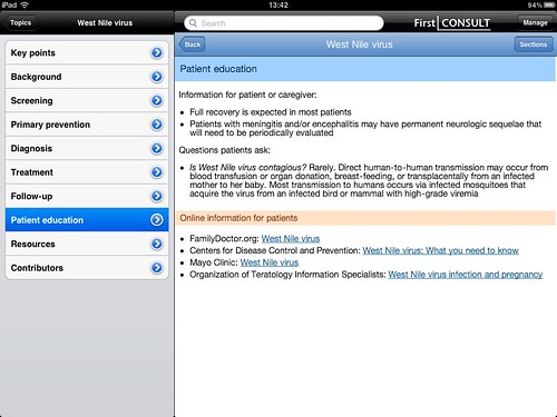 First Consult iPad app, example
