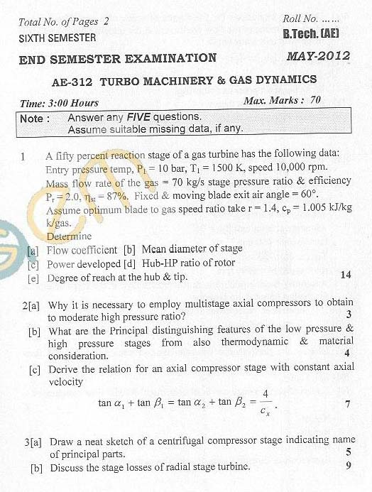 DTU: Question Papers 2012 - 6 Semester - End Sem - AE-312