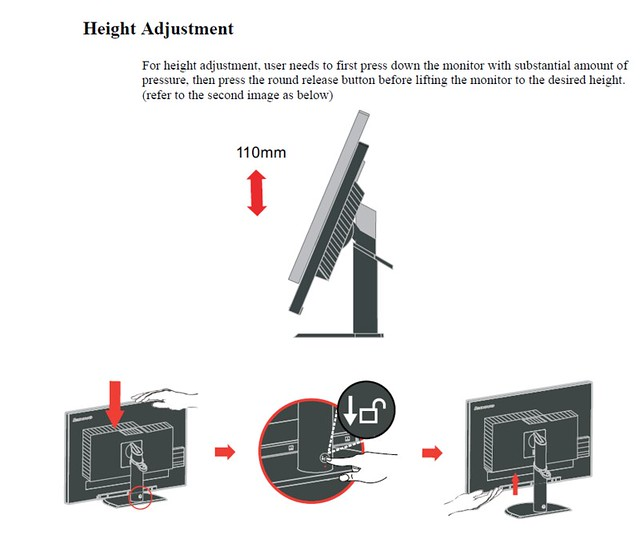 ThinkVision LT3053 height adjustment