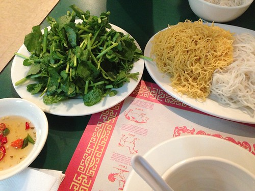 Watercress, Egg and Rice noodles