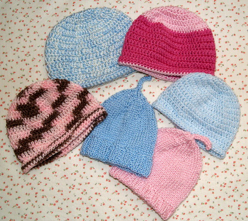 Crochet beanies for donations by mysticmeems