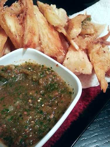 fried Yucca with tomatillo and roma tomatoes salsa by pipsyq