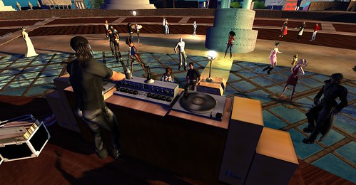 Elrik Merlin spins the tunes at One Billion Rising in Second Life - photo by Wildstar Beaumont