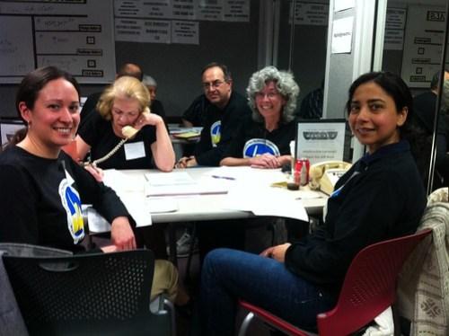 photo of volunteers in the phone room