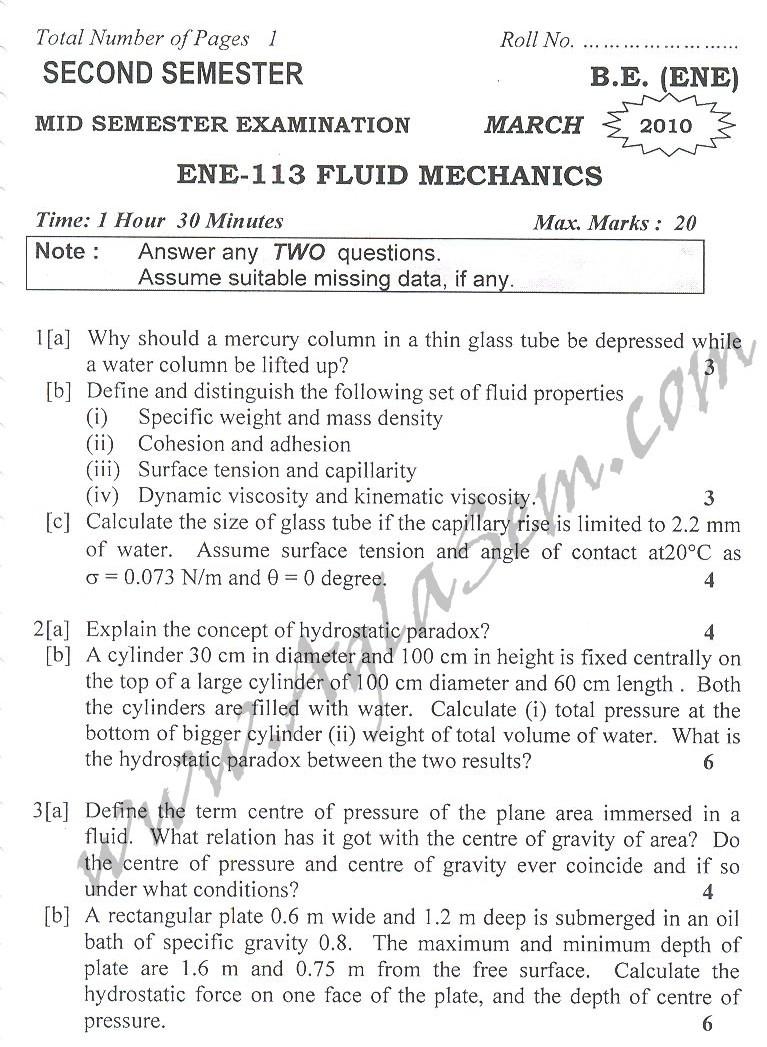 DTU Question Papers 2010 – 2 Semester - Mid Sem - ENE-113